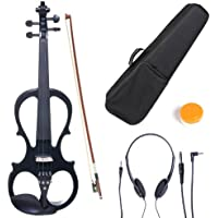 Cecilio CEVN-1BK Ebony Fitted Silent Electric Violin, Style 1, Metallic Black, Size 4/4 (Full Size)