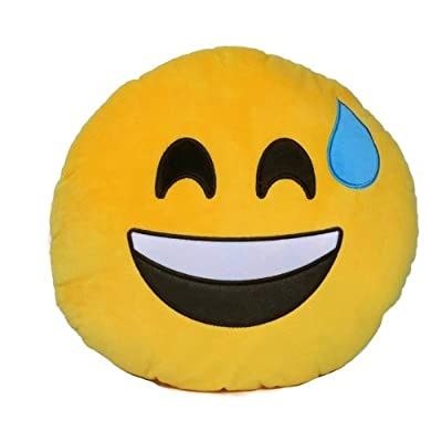 "PLUSH & PLUSH TM 12"" Inch / 30cm Large Emoji Pillows Smiley Emoticon Soft Plush Stuffed Yellow Roundy Full Collection (USA SELLER) (LAUGH WITH SWEAT): Home & Kitchen"