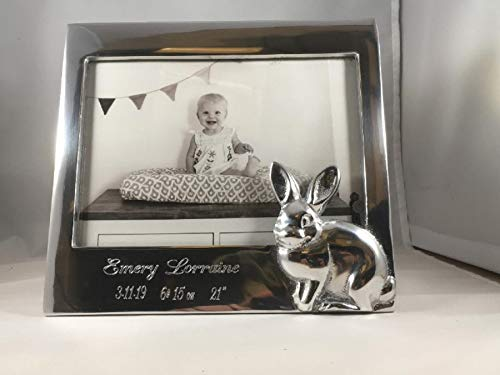 MARIPOSA Bunny Rabbit Engraved Birth Record Photo Picture Frame Holds 5