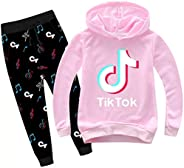 Boys Girls TIK Tok Pull Over Long Sleeve Hoodies and Sweatpants Set-Graphic Hooded Sweatshirts Set for Kids(2T