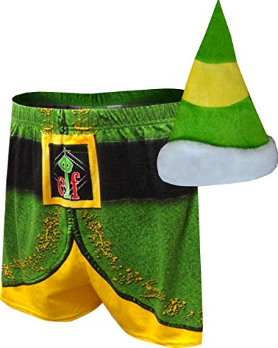 Buddy Elf Hat (Briefly Stated Men's Buddy The Elf Christmas Boxers with Elf Hat)