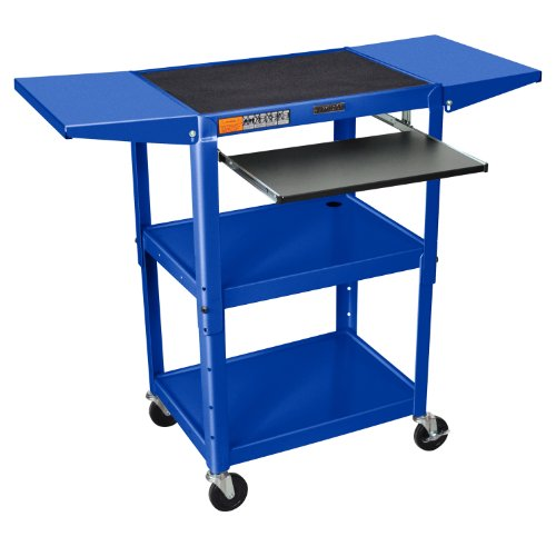 (Luxor Mobile Multipurpose Adjustable Height Steel A/V Cart with Pullout Tray and Drop Leaf Royal Blue)