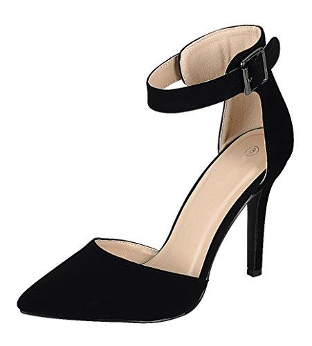 Cambridge Select Mujeres Punta Estrecha Cerrada Dorsay Hebilla Correa De Tobillo Stiletto High Heel Pump Negro Nbpu