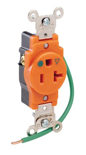 Hospital Grade Receptacle (Leviton 8310-OIG 20 Amp, 125 Volt, Narrow Body Single Receptacle, Straight Blade, Hospital Grade, Isolated Ground, Orange)