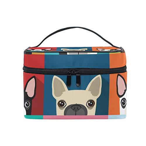 (Makeup Train Cases Boston Terrier Pattern Travel Cosmetic Bag Portable Artist Storage Bag Organizer for Womens)