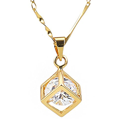 BORTEX Cubic Zirconia Cube Fashion Pendant Necklace for Women 18K White Gold Plated Made with Swarovski Elements Sparkly Jewelry Gift for Women (18k Gold Plated)