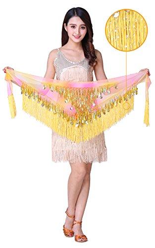 WZT Belly Dancing Belt Colorful Waist Chain Belly Dance Hip Scarf Belt (new yellow)