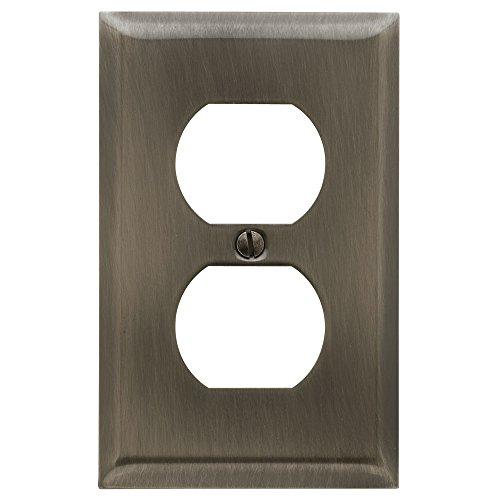 - Baldwin Estate 4752.151.CD Square Beveled Edge Duplex Wall Plate in Antique Nickel, 4.5