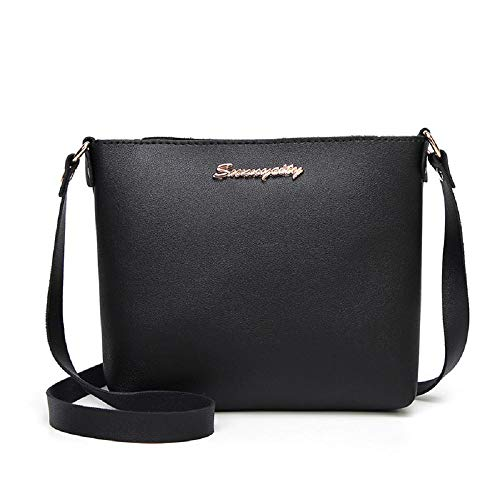 Black Handbags Ladies Satchel Fashion Faux Messenger For Solid Tote Colour Shoulder Bag Women Top Amaone Zipper Handle Crossbody Purse Leather E8Hnq4ETwf