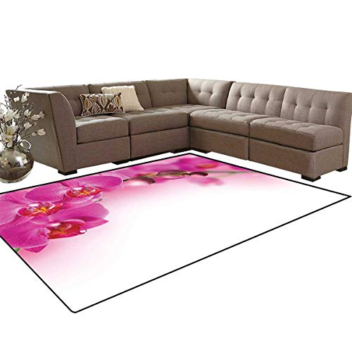 Spa Bath Mats Carpet Blossoming Orchid Branch Exotic Nature with Feng Shui Elements Spa Zen Garden Botany Girls Rooms Kids Rooms Nursery Decor Mats 5'x8' Multicolor