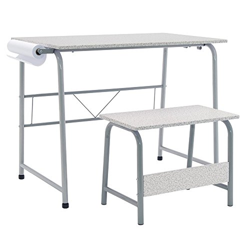 Four Station Art Center (Offex Kids Project Center Includes Art Learning Table with Bench - Gray/Spatter Gray)