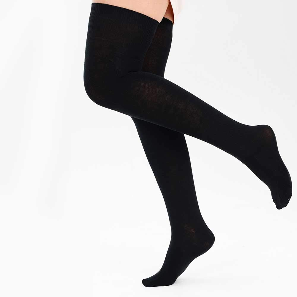 1 Black Over The Knee Thigh High Socks Back To School Girls Ladies UK Size 4-7