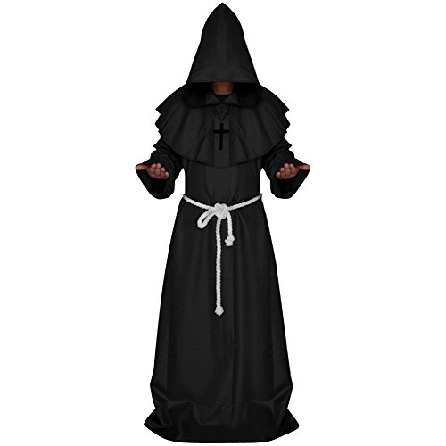 LETSQK Men's Friar Medieval Hooded Monk Priest Robe Tunic Halloween Costume Black L