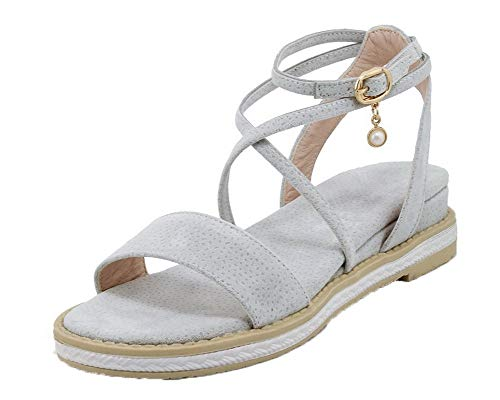 Grey Tsmlh007678 Women Buckle Solid Aalardom Sandals With Dress Suede imitato zd8C7