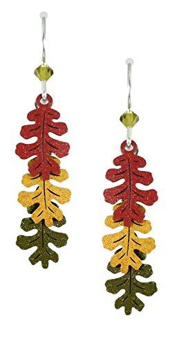 (Sienna Sky 3-part Oak Leaves in Autumn Colors Dangle Earrings 1558)