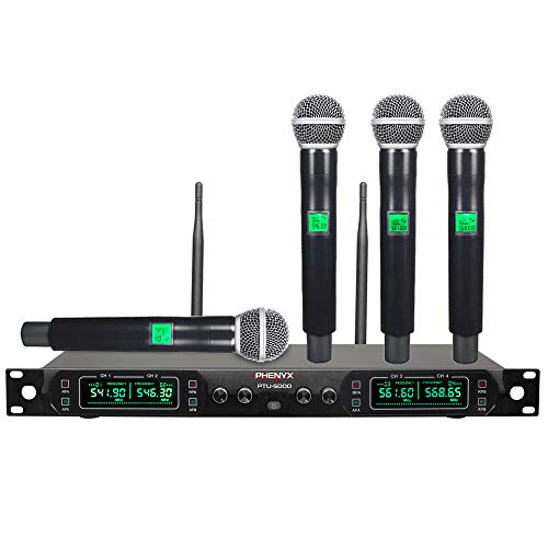 Wireless Microphone System, Phenyx Pro 4-Channel UHF Cordless Mic Set With Four Handheld Mics, All Metal Build, Fixed Frequency, Long Range 260ft, Ideal for Church,Karaoke,Weddings, Events (PTU-5000A) - Professional Wireless Mic