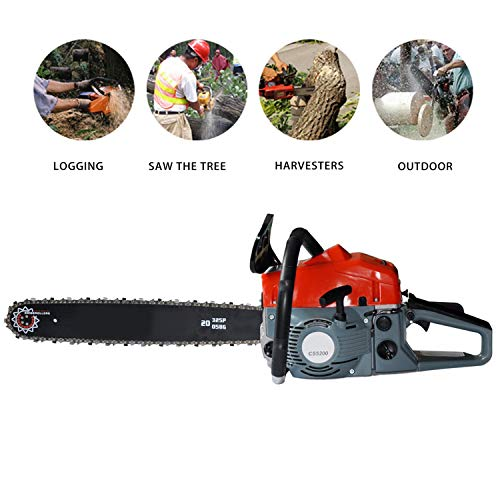 Tomasar Chainsaw 20″ 58CC 4.0 HP Gas Powered Chain Saw 2 Stroke Handed Petrol Chainsaw with Smart Start Super Air Filter System and Automatic Oiling and Tool Kit(US Stock) (Style2-52 CC(Red))