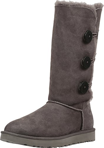 UGG Women's Bailey Button Triplet II Winter Boot, Grey, 8 B US