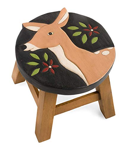 Plow & Hearth Hand-Carved Wood Deer Footstool - 11.5 L x 12 W x 10 H ()