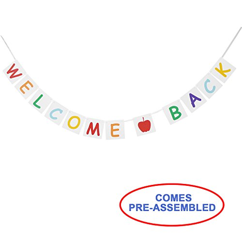 Vintage WELCOME BACK Banner Bunting with Apple Sign - Back to School Decorations Supplies - Home, School Yard, Classroom (Welcome Back Banner)