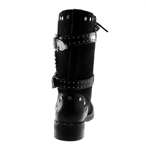 Légèrement Noir Rangers 3 Cm Lanière Femme Talon Lacets Bottine Fourrée Mode Intérieur 2 Chaussure Bloc 5 Motard Angkorly Montante Clouté wWURgaUq