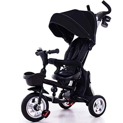 BHDYHM Kids Tricycle Folding Baby Tricycle Adjustable Awning, Folding ABS Foot Pedals, Storage Bag ()