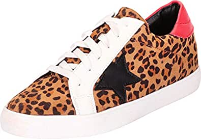 Cambridge Select Women's Low Top Round Toe Star Lace-Up Fashion Sneaker,9 B(M) US,Leopard