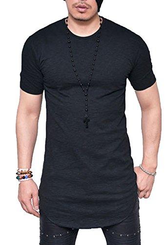 (JOKHOO Mens Long Sleeve Hipster Hip Hop Basic Henley T Shirt for Men (M, Black1))