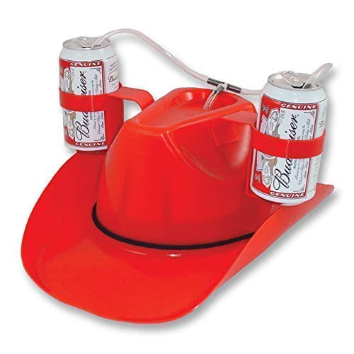 Cowboy Style Beer /& Soda Drinking Hat Red