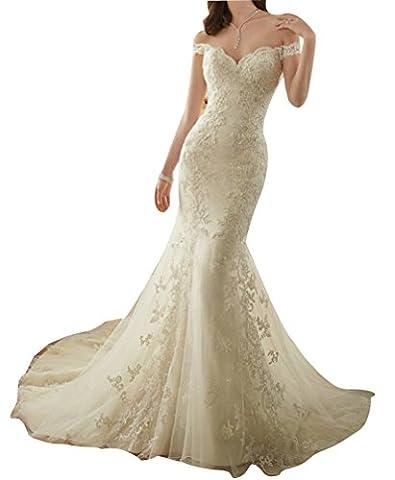 LISA.MOON Women's Sweetheart Mermaid Lace Applique Sweep Train Wedding Dress Ivory US2 - Full Sweep Gown