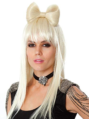 Xcoser Lady Gaga Cosplay Wig Long Golden Beige Straight Bow Hairs for Halloween