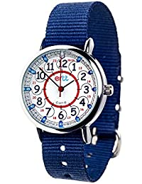 Childrens Watch, 12 & 24 Hour Time, Red Blue Grey Face/Navy Blue