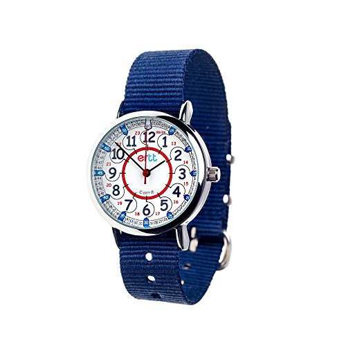 EasyRead Time Teacher Children's Watch, 12 & 24 Hour Time, Red Blue Grey Face/Navy Blue Strap