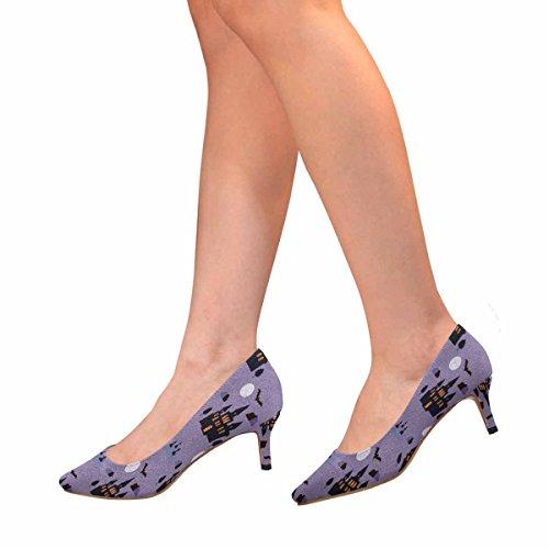 Tallone Basso Gattino A Pipistrello, Scarpe A Punta, Scarpe Modello Halloween Con Pipistrello, Casa, Luna E Albero Multi 1