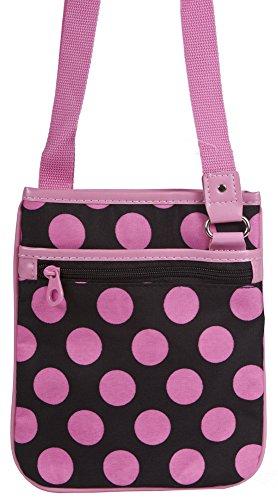 Ever Moda Pink Black Dots Small Hipster Cross Body Shoulder Bag (Discount Designer Bags)