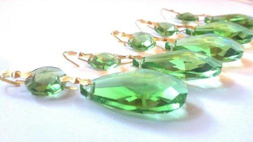 Chandelier Crystal Teardrop Spring Green 38mm Prism Ornaments 5 Pack