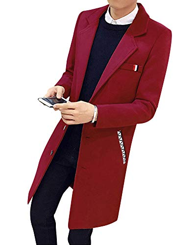 Solid Slim Jackets Trench Outwear Fashion Stylish Business Red Long Coat Casual Men Jacket Parka zqxERw7p
