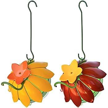 Wild Wings WWSFHF5 So Real Single Flower Hummingbird Feeder, Red/Yellow (2-Pack),