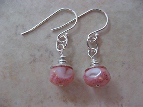 Artisan Pale Pink Czech Glass Sterling Silver Earrings Boho Dangling