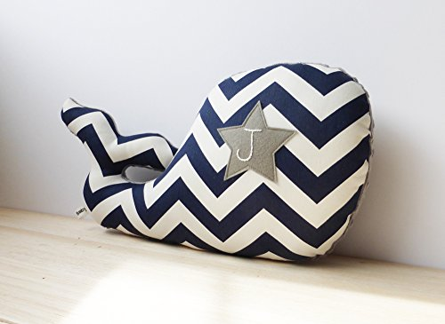 Nautical nursery decor Personalized whale pillow