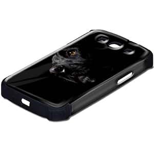 Animales 10005, Perro, Design Negro Caso Carcasa Funda de Silicona Hybrid Armor Protección Case Cover con Diseño Colorido y Protector De Pantalla para Samsung S3 i9300.