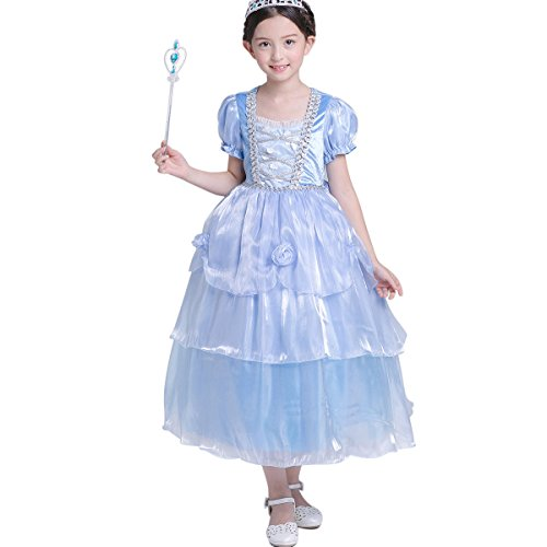LOEL Christmas gift Cinderella Princess Dress Up Costume for Girls -