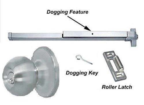 "Global Door Control ED-501 – 36"" Panic Push Bar Exit Device Aluminum with Exterior Keyed Entry Knob Trim"