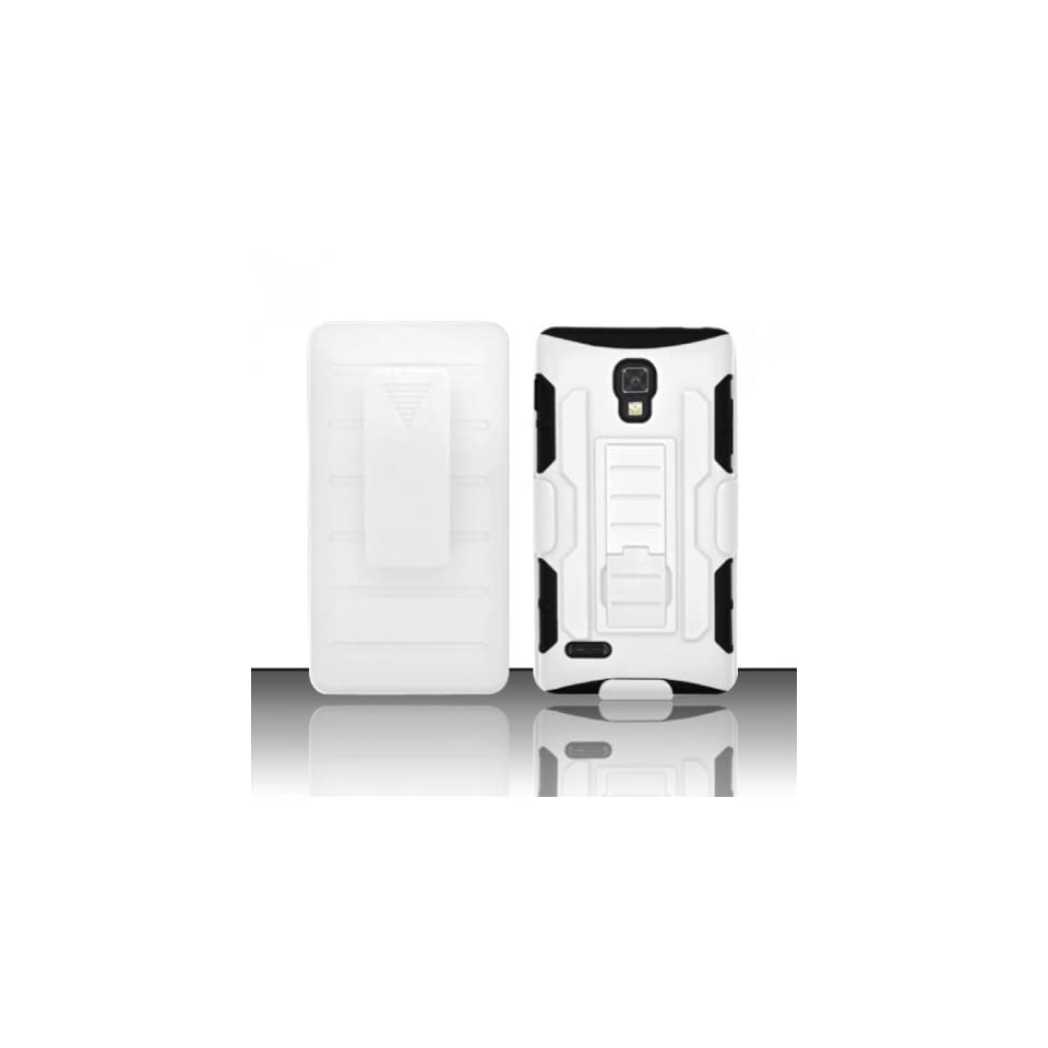 LG Optimus L9 P769 / P760 / MS769 Case Nice White Utra Rock Heavy Duty Cover Dual Layers Protector Fold in Stand (T Mobile / Metro Pcs) with Free Car Charger + Gift Box By Tech Accessories