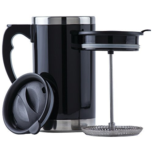 - Wyndham House 21oz Stainless Steel Lined, Double-Wall Travel French Press Coffee/Tea Mug