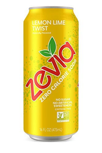 - Zevia Lemon Lime Twist, 16 Ounce Can (12 Count) Zero Calories or Sugar, Naturally Sweetened, Carbonated Soda, Refreshing, Flavorful, and Tasty