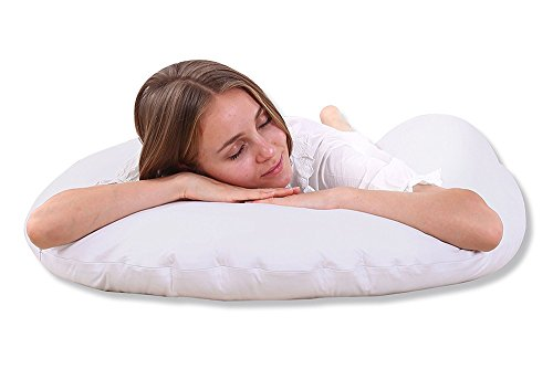 QUEEN ROSE Pregnancy Body Pillow- King Size w/Premium Inner Cover - for Back Pain and Side Sleeping - 100% Cotton Pillowcase (white)