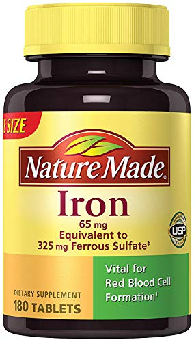 Nature Made Iron 65 mg, 180 Tablets (2 Bottles)