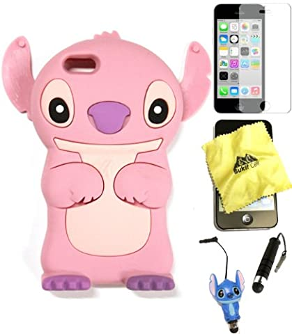 Bukit Cell ® 3D Disney Case Bundle - 5 items: PINK 3D Cute Stitch Soft Silicone Case Cover for IPHONE 5C + BUKIT CELL Trademark Lint Cleaning Cloth + Stitch Figure Anti Dust Plug Stylus Touch Pen + Screen Protector + METALLIC Stylus Touch Pen with Anti Dust (Disney Cell Phone Cases Iphone 5c)