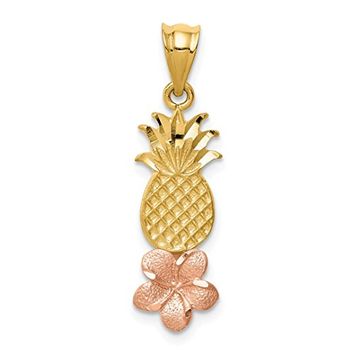 Pineapple Plumeria Pendant Charm Necklace Food Drink Fine Jewelry For Women Gift Set ()